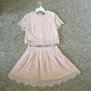 Two Piece, Millennial Pink, Crop Top & Skirt